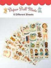 *Party Favors* 6 Sheets Korean Afrocat Paper Doll Mate Girl PVC Stickers set #1