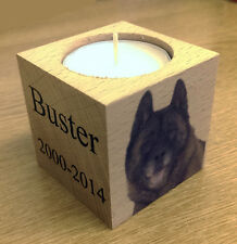 Beautiful Personalised Photo Wood Bereavement Pet Cat Dog Candle Rememberance