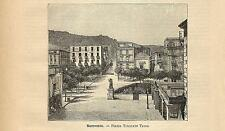 Stampa antica SORRENTO Piazza Torquato Tasso Napoli 1891 Old antique print