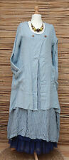 LAGENLOOK LINEN LAYERING QUIRKY 2 POCKETS JACKET/COAT*PALE BLUE*BUST UP TO 44""