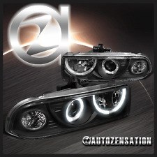1998-2004 Chevy S10 Blazer Dual Halo Black Clear Projector Headlights Head Lamps