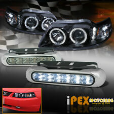 1999-2004 Ford Mustang Black Halo Projector Headlight + LED DRL Driving Fog Lamp