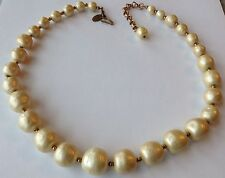 VINTAGE MIRIAM HASKELL SIGNED LARGE GRADUATED BAROQUE PEARL NECKLACE