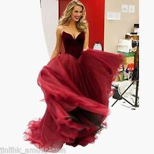 Strapless Long Evening Prom Dress Tulle Party Gown Formal Bridesmaid Gown Size 8