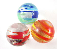 "3 FLASHLIGHT 25mm Handmade art glass clear swirl Marbles ball Large 1"" SHOOTER"