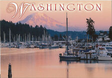 Postcard Washington State Gig Harbor Puget Sound Mt Rainier Fishing Boats MINT