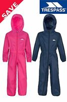 Trespass Button Boys / Girls Waterproof Rainsuit All In One Suit