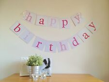 Pink Happy Birthday Party Banner/Bunting Flags Dessert Table Decoration