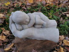 "Precious Cement 8.5"" Sleeping Child Baby in hands Hand Garden Concrete Statue"