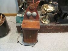 Vintage JYDSK wood metal wallphone telephone antique