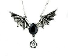 Black Swarovski Stone Bat Wing Necklace Vampire Goth Lolita Alternative Witch
