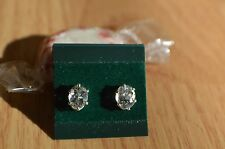 1.36ct Ice BlueGreen Oligoclase Solitaire Earrings 6 prong Sterling Silver VVS