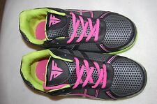Womens Athletic Shoes BLACK SILVER Pink Green Accent ACTION FLEX Lace Up SIZE 10