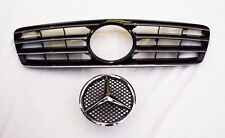 4 Fins Black w/ Chrome Grill for Mercedes Benz W203 C Class 4 Dr Sedan 00-06