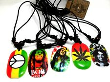 5 X mix Bob Marley peace Leather  Necklaces pendant Men Jewelry wholesale  lots