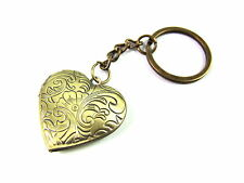 Vintage Bronze Waved Flower Love Heart Photo Locket Keyring Bag Charm
