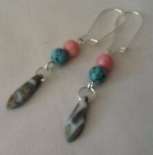 Upcycled Czech Glass Earrings Preciosa Dagger Vintage Opaque Pink Blue Beads