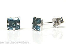 9ct White Gold Square London Blue Topaz Studs earrings Gift Boxed Made in UK