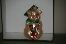 Candy Cane Pig  Old World Christmas glass ornament