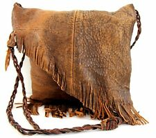 NATIVE HANDMADE MURKA DISTRESSED BROWN LEATHER FRINGE BOHO X-BODY SHOULDER BAG