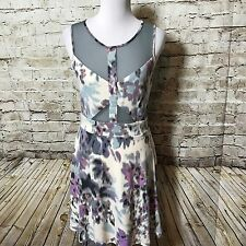 Urban Outfitters UO Silence & Noise Cut-Out Mesh Skater Dress Sheer Sz L Floral