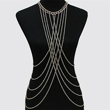 Fashion Sexy Tassels Beach Crossover Harness Waist Body Chain Necklace
