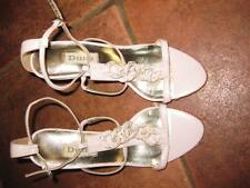 Ladies pretty DUNE baby pink strappy high leather sandals 36 UK3 VGC worn once!