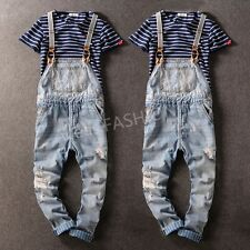 New Classic Mens Denim Suspender Trousers Ripped Pants Overalls Distressed Jeans
