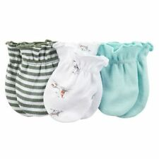 New Carter's 3 Pack Baby Mittens size 0-3 months NWT 100% Cotton Boys Mint Dog