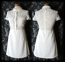 Gothic Cream Sheer Lace PARAMOUR 40s 50s Tea Dress 4 6 Vintage Pin Up Glamour