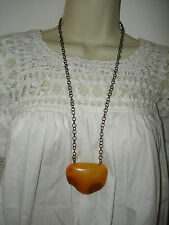 Vintage Baltic Amber Beautiful Huge Pendant Egg Yolk Butterscotch Chain Necklace