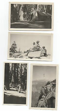 Four 1919 Photos of views in Yosemite CA Log Cabin Glacier Point w/ Flag