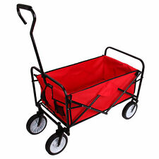 Red Outdoor Yard Folding Wagon Garden Utility Travel Collapsible Cart Home