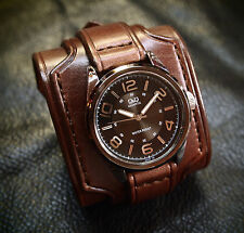 Leather Cuff Watch Brown Bracelet Nathan Drake by Freddie Matara Custom NYC USA