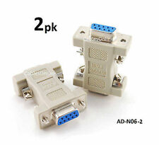 2-PACK DB9 Null Modem Female/Female Data Transfer Adapter/Gender Changer