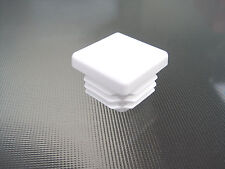 "100 - 1"" White Square Tubing Plastic Hole Plugs 1 Inch End Cap  1x1 Chair Glide"