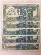 "(JC) 5 pcs 10 Dollars Straight ""M"" Malaya Japanese Invasion Money JIM"