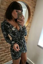 TOPSHOP Sexy Leopard Print Plunge V-neck Wrap Long Sleeve Mini Dress! Size 10