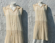 1920s Crepe Flapper Dress / Cream Wedding Great Gatsby Embroidered Sailor S M
