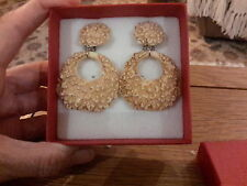 Brand new large resin clip-on earrings with a shell look finish and  gift box