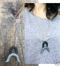 Handmade Black Marbled Gray Polymer Clay Curved Arc Moon Bell Tan Cord Necklace