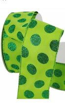 "50 Yard Roll (150ft)  Lime Green Polka Dot Glitter Wired Ribbon 2.5"" Wide"
