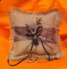 Burlap And Camo Ring Bearer Pillow With Antler.