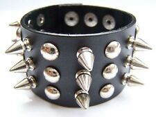 TRIPLE SPIKED STUDDED REAL LEATHER WRISTBAND CUFF GOTHIC PUNK ROCKER