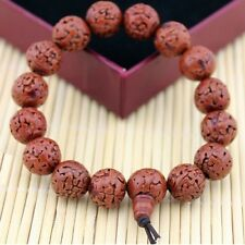 Stretchy Tibetan 16 13mm Rudraksha Bodhi Seed Prayer Beads Mala Bracelet -6 1/2""