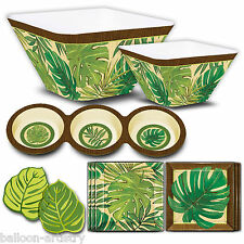 Tropical Island Palms Deluxe Melamine Green Leaf Print Party 16pc Tableware Set