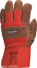 Delta Plus Venitex DCTHI Brown Leather 3M Thinsulate Rigger Work Gloves Docker