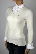 Ralph Lauren CREAM WOOL CASHMERE V-NECK SWEATER NWT LARGE L