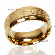 20pcs Stainless Steel Etched ENGLISH Lord's Prayer Cross Wedding Gold Band Ring
