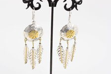MEXICO TC-255 925 SHIELD AND FEATHERS BRASS & STERLING EARRINGS  VINTAGE 1204